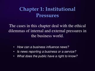 Chapter 1: Institutional Pressures