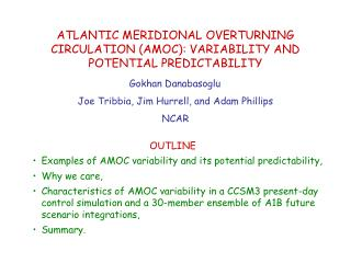 OUTLINE Examples of AMOC variability and its potential predictability, Why we care,