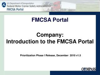 Company: Introduction to the FMCSA Portal