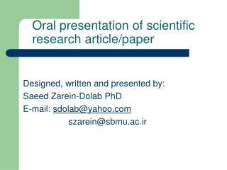 Oral presentation of scientific research article/paper