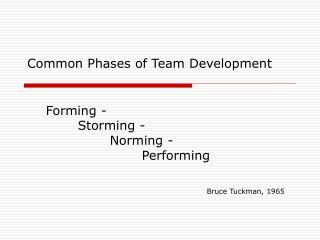Common Phases of Team Development