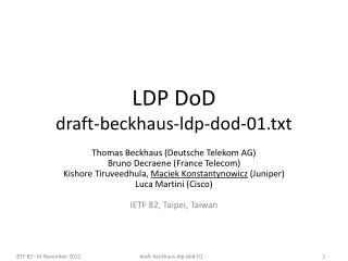 LDP DoD draft-beckhaus-ldp-dod-01.txt