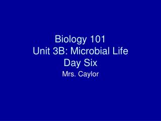 Biology 101 Unit 3B: Microbial Life Day Six
