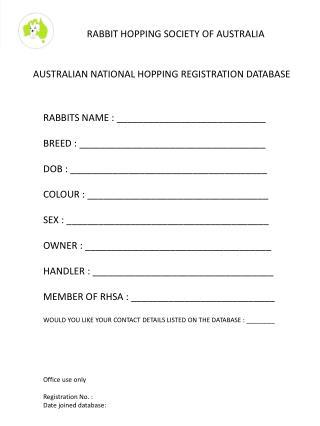 AUSTRALIAN NATIONAL HOPPING REGISTRATION DATABASE