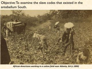 Objective: To examine the slave codes that existed in the antebellum South.
