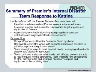 Summary of Premier's Internal Disaster Team Response to Katrina