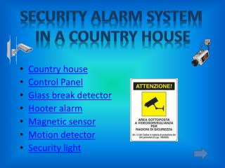 Country  house Control Panel Glass break detector Hooter alarm Magnetic sensor Motion detector