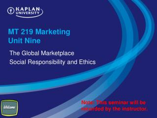 MT 219 Marketing  Unit Nine