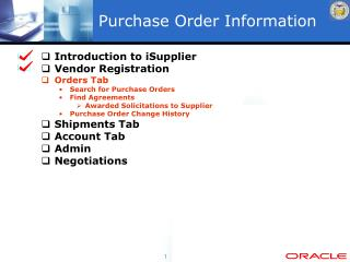 Purchase Order Information