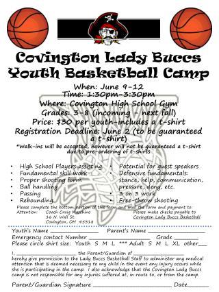 Covington Lady  Buccs  Youth Basketball Camp