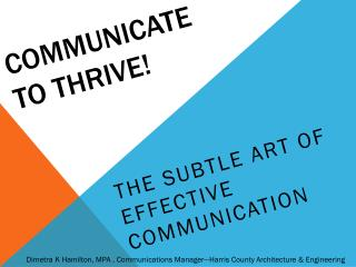 Communicate to thrive!