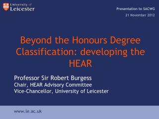 Beyond the Honours Degree Classification: developing the HEAR