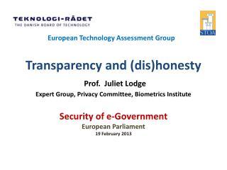 Security  of e-Government European Parliament 19 February 2013