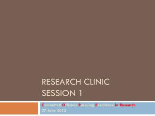 Research Clinic Session 1