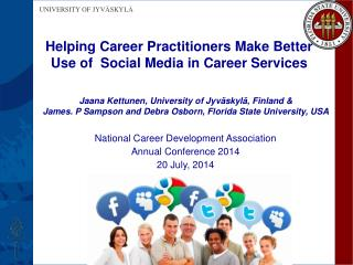 Helping Career Practitioners  Make Better Use of  Social  M edia  in Career  S ervices