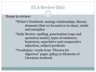 ELA Review Quiz