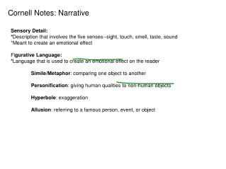 Cornell Notes: Narrative