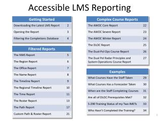 Accessible LMS Reporting