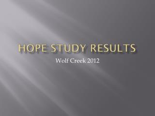 Hope Study Results