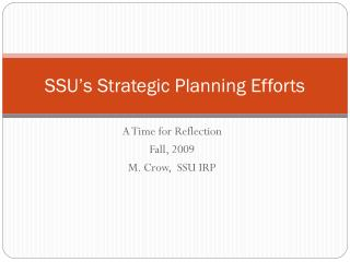 SSU's Strategic Planning Efforts