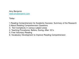Amy Benjamin amybenjamin Today: