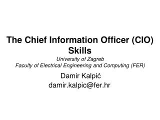 Damir Kalpi? damir.kalpic@fer.hr