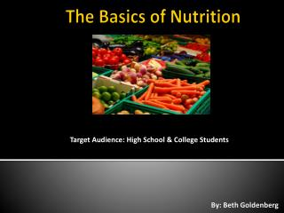 The Basics of Nutrition