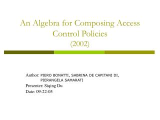 An Algebra for Composing Access Control Policies (2002)