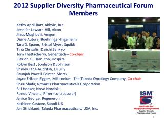 2012 Supplier Diversity Pharmaceutical Forum Members
