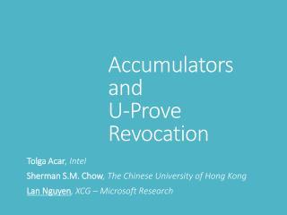 Accumulators and U-Prove Revocation