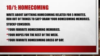 10/1:  HOmecoming
