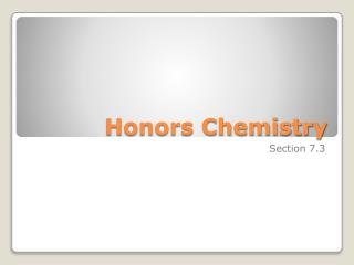 Honors Chemistry