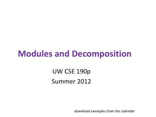 Modules and Decomposition