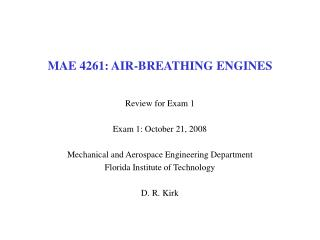 MAE 4261: AIR-BREATHING ENGINES