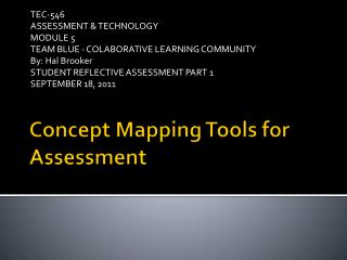 Concept Mapping Tools for Assessment