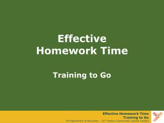 Effective  Homework Time