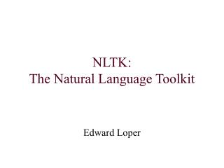 NLTK: The Natural Language Toolkit