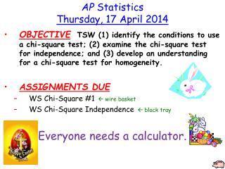 AP  Statistics Thursday ,  17  April 2014