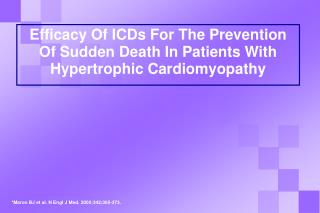 Efficacy Of ICDs For The Prevention  Of Sudden Death In Patients With Hypertrophic Cardiomyopathy