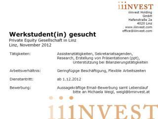 iiinvest Holding GmbH Hafenstraße 2a 4020 Linz iiinvest office@iiinvest