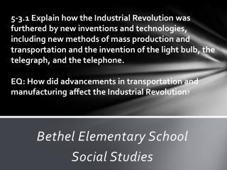 Bethel Elementary School Social Studies