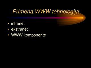 Primena WWW tehnologija