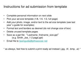 Instructions for ad submission from template