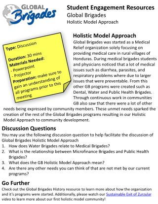 Student  Engagement Resources Global Brigades Holistic Model Approach
