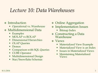 Lecture 10: Data Warehouses