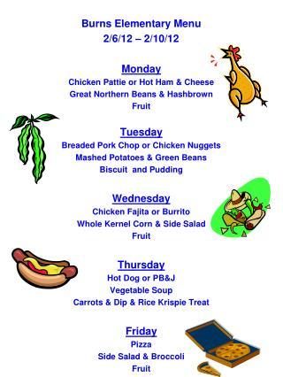 Burns Elementary Menu 2/6/12 – 2/10/12 Monday Chicken Pattie or Hot Ham & Cheese