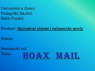 Univerzitet u Zenici Pedagoški fakultet Bakir Pojskić