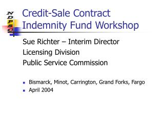 Credit-Sale Contract Indemnity Fund Workshop