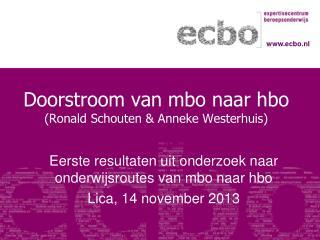 Doorstroom van mbo naar hbo (Ronald  Schouten  & Anneke  Westerhuis)
