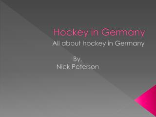 Hockey in  Germany